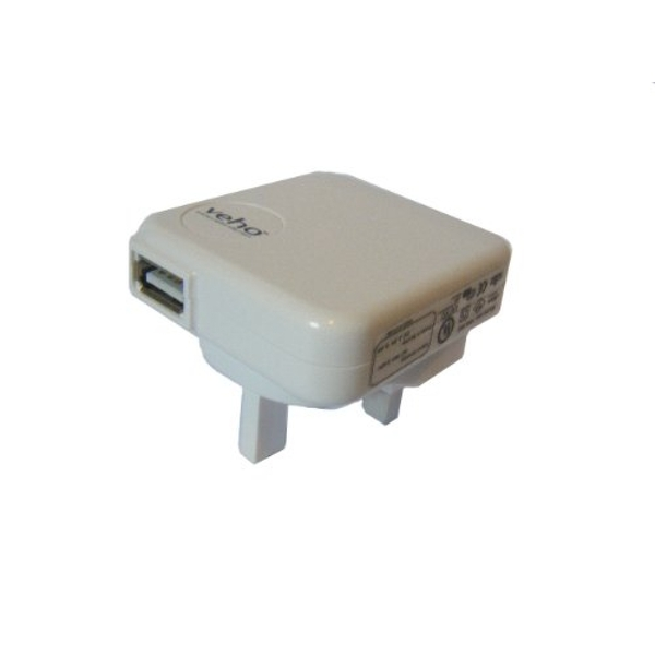 Veho Mains USB Charger for USB Charged Devices in White