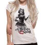Batman Arkham Knight Harley Quinn Womens T-Shirt X-Large - White