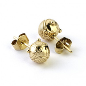 Sterling Silver Golden Snitch Stud Earrings with Gold Plating