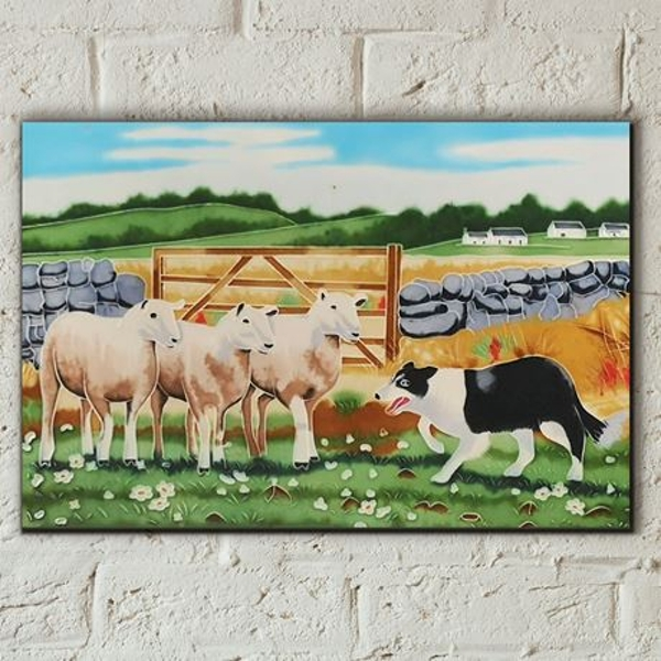 Tile 8x12 Sheepdog With Sheep By Macneil Studio Wall Art