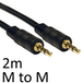 3.5mm (M) Stereo Plug to 3.5mm (M) Stereo Plug 2m Black OEM Cable - Image 2