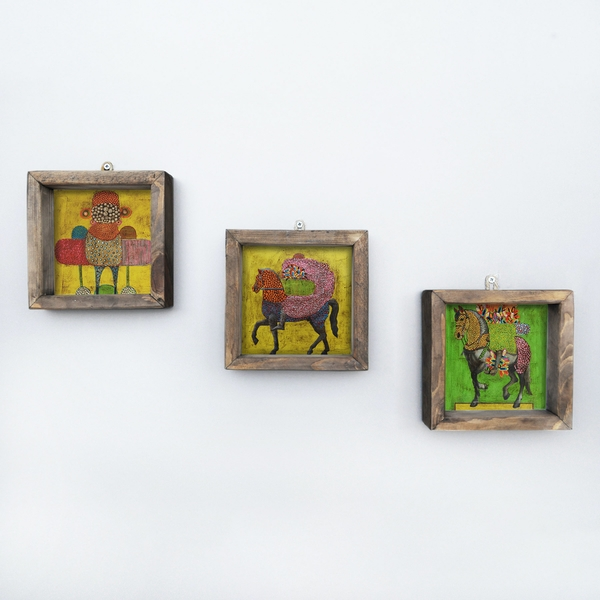 UKZM003 Multicolor Decorative Framed MDF Painting (3 Pieces)