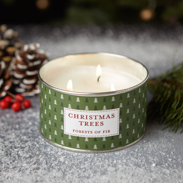 Image of Christmas Trees Multi Wick Tin Candle