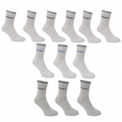 Donnay 12 Pack Crew Socks White & Grey Assortment UK Size 11-14