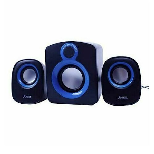 Jedel SD003 Compact 2.1 Desktop Speakers, 5W + 2x 3W, USB Powered, 3.5mm Jack, Black & Blue