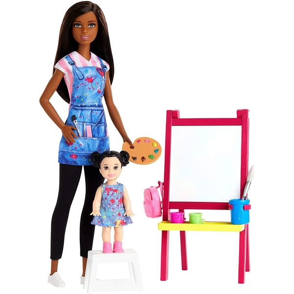 Barbie You Can be Anything - Doll Art Teacher with kid Doll Playset