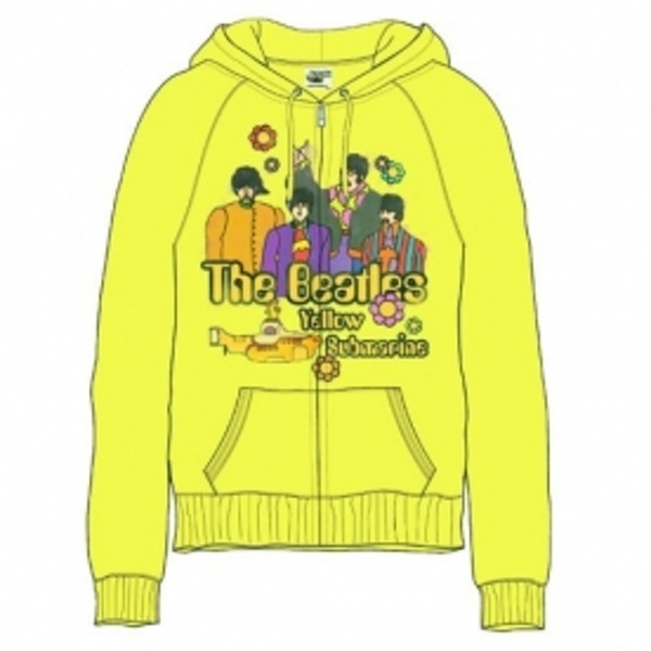 The Beatles Sub Band & Logo Ladies Yellow Zip Hoodie Small