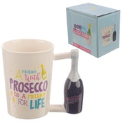 Prosecco Bottle Shaped Handle Ceramic Mug