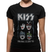 Kiss - Made For Lovin Women's Small Fitted T-Shirt - Black