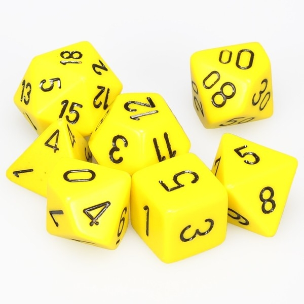 Chessex Opaque Poly Dice 7 Set: Yellow/Black