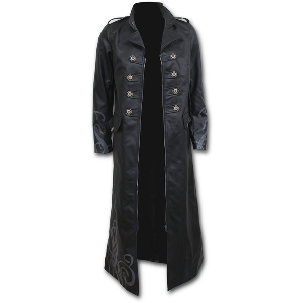 Fatal Attraction Women's X-Large Gothic Pu-Leather Corset Trench Coat - Black