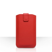 Caseflex PU Leather Auto Return Pull Tab Pouch (L) - Red