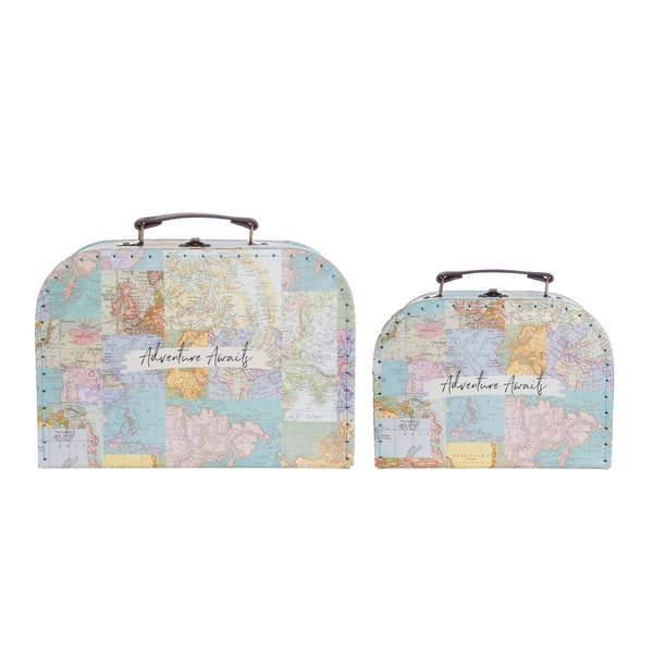Sass & Belle Vintage Map Collage Suitcases (Set of 2)