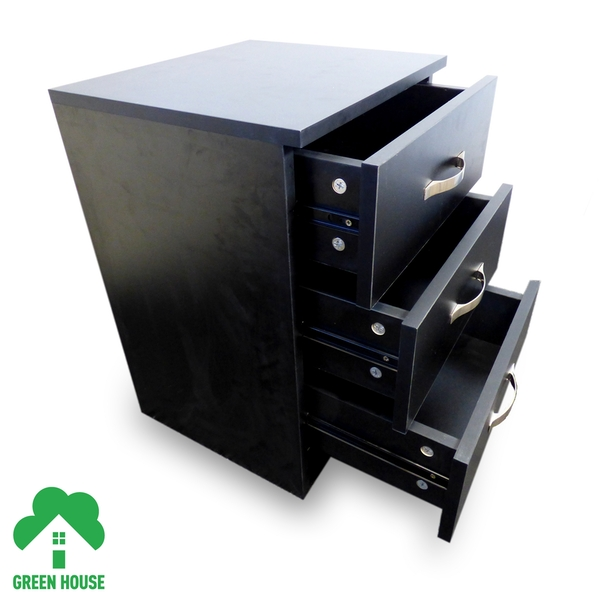 3 Chest Of Drawers Black Bedside Cabinet Dressing Table Bedroom Furniture Wooden Green House - Image 2