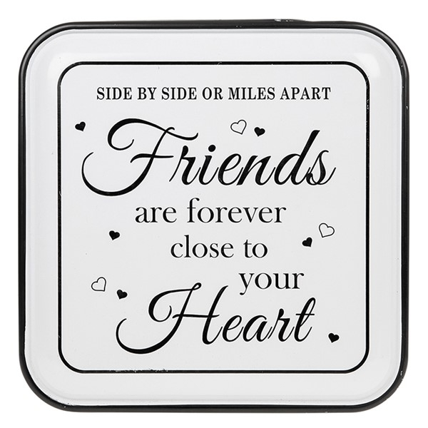 Vintage Enamel Plaque Square Friends