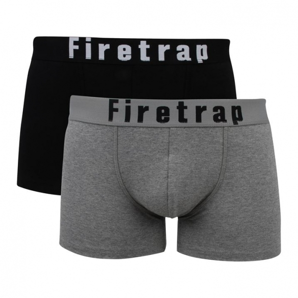 37325093d861 Firetrap 2 Pack Mens Trunk Boxer Shorts Black & Grey Medium ...