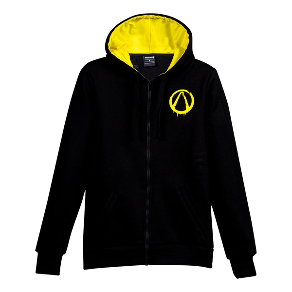 Borderlands - Vault Hunter Destroyed Men's X-Large Custom Full Length Hoodie - Black/Yellow