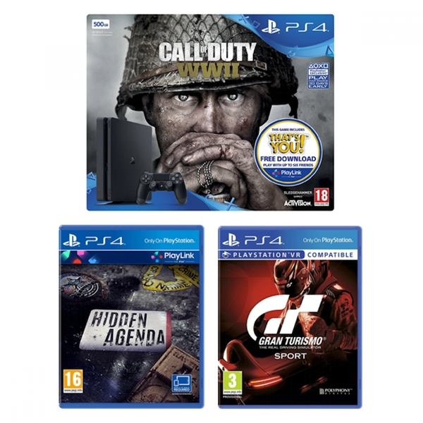 PS4 500GB Console Call Of Duty WWII Gran Turismo Sport Hidden Agenda Bundle