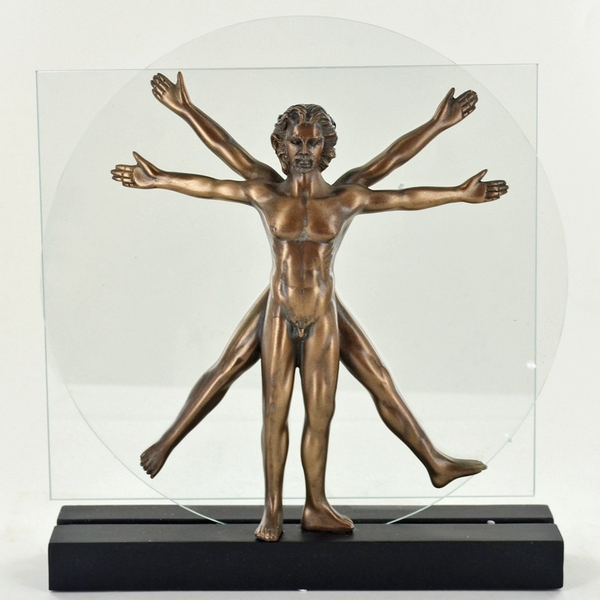 Vitruvian Man Cold Cast Bronze Sculpture