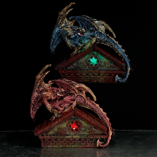 Stained Glass Window LED Dragon Figurine (1 Random Supplied)