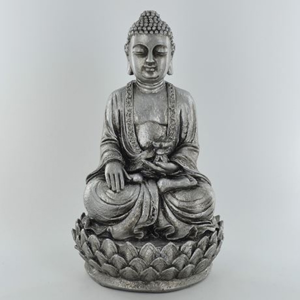 Silver Buddha Sitting In A Flower Ornament 23cm