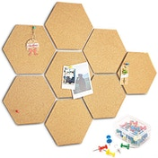 8 Pack Cork Board with Pins Hexagon Cork Board with Pins - Pack of 8 | Pukkr