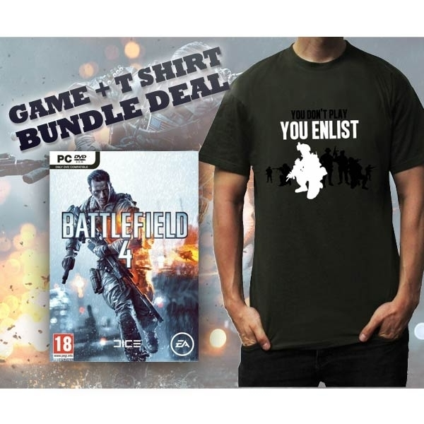 Battlefield 4 Game (Includes China Rising DLC) & You Enlist Khaki T-Shirt Medium PC