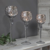 Set of 3 Silver Mercury Glass Goblet Candle Holders