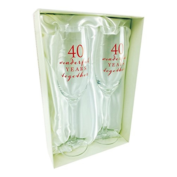 AMORE BY JULIANA? Champagne Flute Set - 40th Anniversary