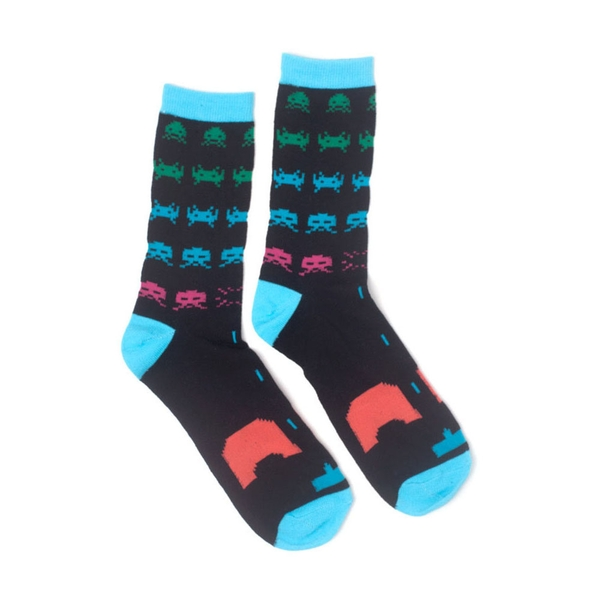 Space Invaders - In-Game Unisex 43/46 Socks - Black/Turquoise