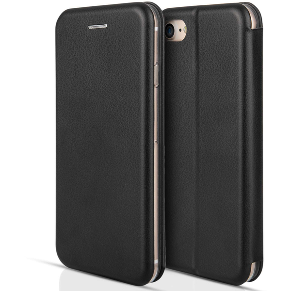 Apple iPhone 7 PU Leather Stand Wallet with Felt Lining/ID Slots - Black
