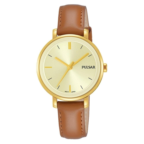 Pulsar PH8364X1 Ladies Brown Leather Strap Gold Case 50M Watch