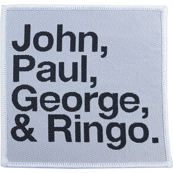 The Beatles - John, Paul, George, Ringo Black on White Standard Patch