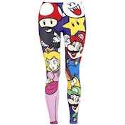 Nintendo Super Mario Bros. Mario and Friends All-Over Print Legging Large