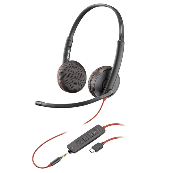 Plantronics Blackwire 3200 Stereo Corded UC Headset With USB-C & 3.5mm Smart Phone Connectivity