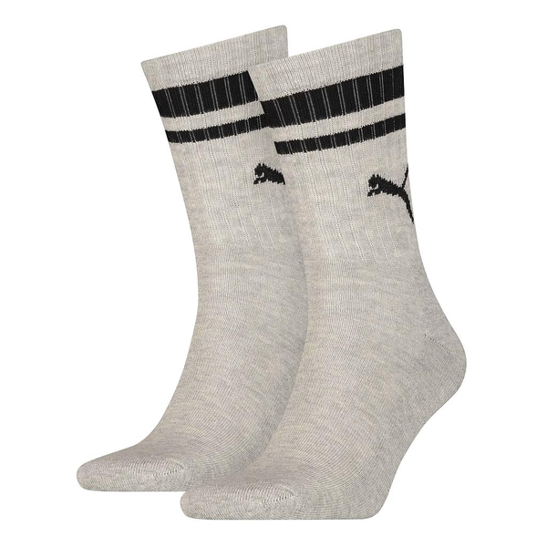 Puma Crew Heritage Stripe Sock Grey/Black UK Size 2.5-5 (2 Pair)