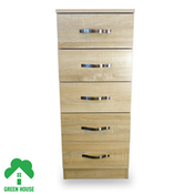 Wooden Chest of Drawers, Bedside Cabinet Bedroom Furniture Green House 5 Drawer Narrow Chest Oak