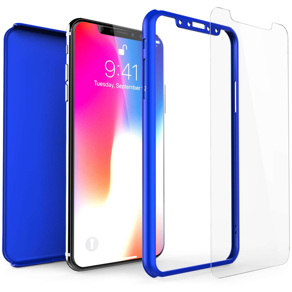 Compare prices with Phone Retailers Comaprison to buy a Apple iPhone X Shockproof Hybrid 360 With Glass Screen Protector - Blue