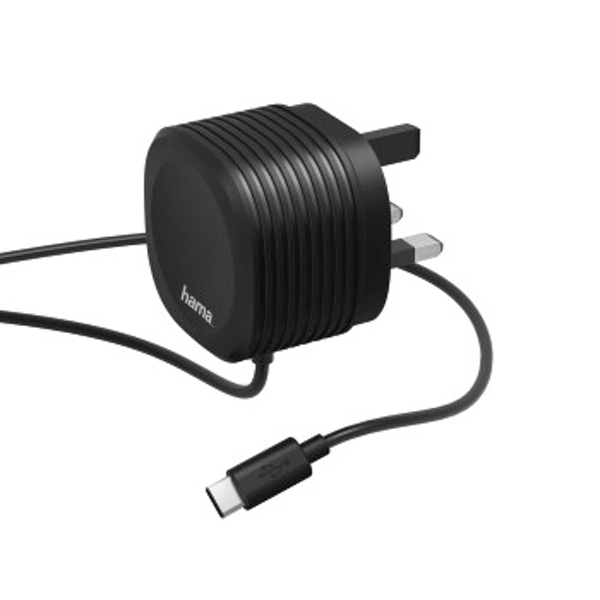 Hama Charger, Type-C, 2.4 A, with UK plug, black