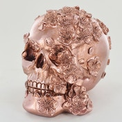 Copper Skull with Flowers