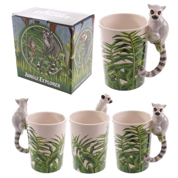 Ceramic Jungle Mug with Lemur Shaped Handle