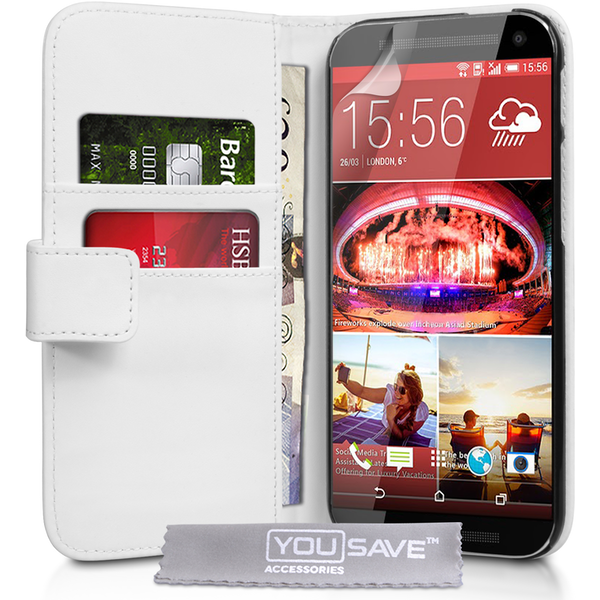 YouSave Accessories HTC One M9 Leather-Effect Wallet Case - White
