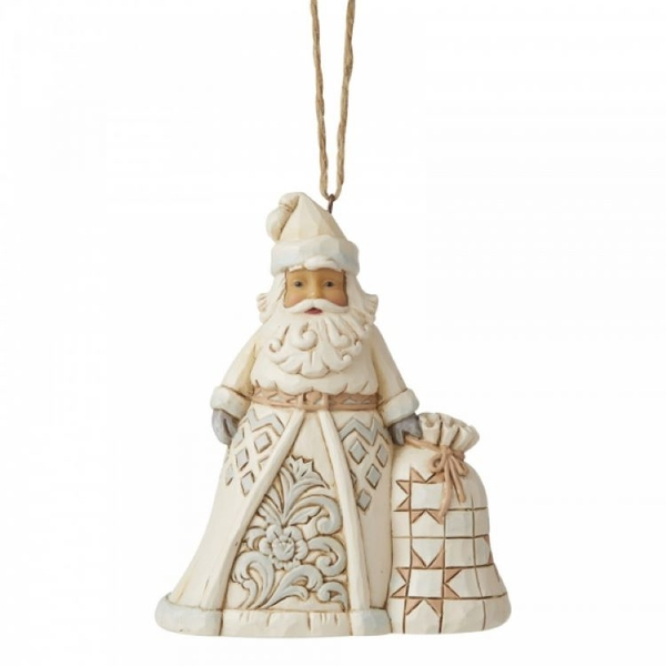 White Woodland Santa Hanging Ornament by Jim Shore