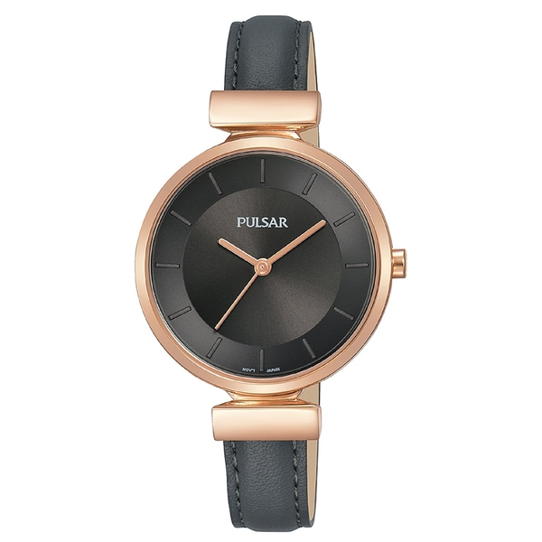 Pulsar PH8420X1 Ladies Black Leather Strap Rose Gold Case 50M Watch