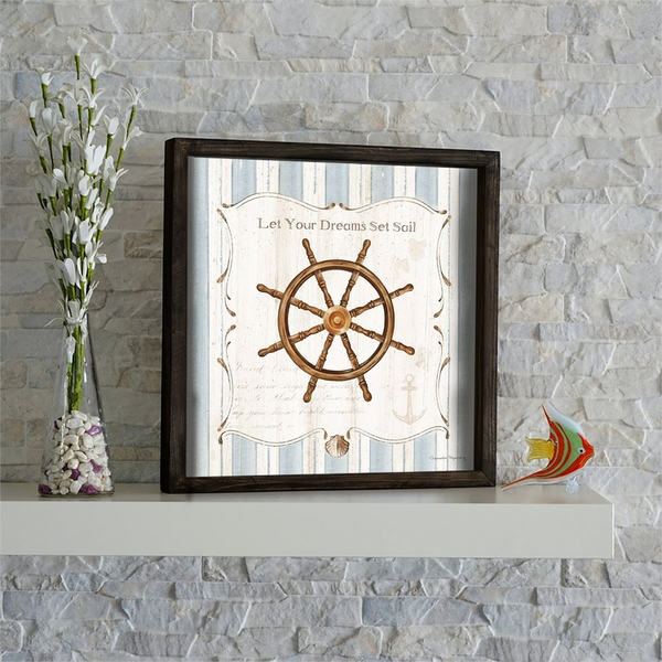 KZM573 Brown Blue White Decorative Framed MDF Painting