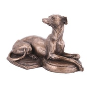 Lying Down Whippet by Harriet Glen Cold Cast Bronze Sculpture