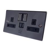 Connekt Gear 2 Way UK Power Socket with USB Charging Plate Black Nickel (2.4 Amp)