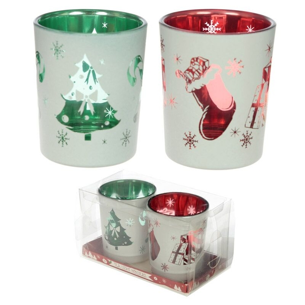 Christmas Designs Set of 2 Glass Candleholder