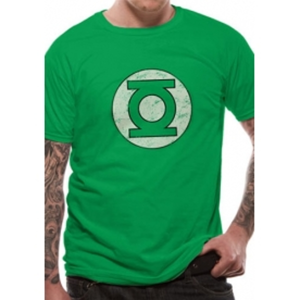 Green Lantern Distressed Logo DC Essentials Range T-Shirt Medium