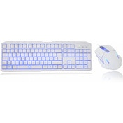 CiT Storm White Blue Backlit Keyboard and Mouse kit with Blue LED